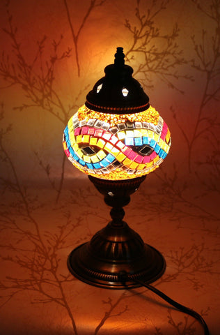 Turkish Mosaic Table Lamp - Loopy Blue-Snazzy Bazaar