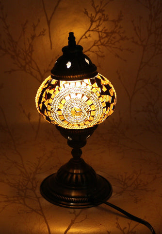 Turkish Mosaic Table Lamp - Pearly Brown-Snazzy Bazaar