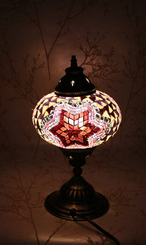 Turkish Mosaic Table Lamp - Red Sea Star-Snazzy Bazaar