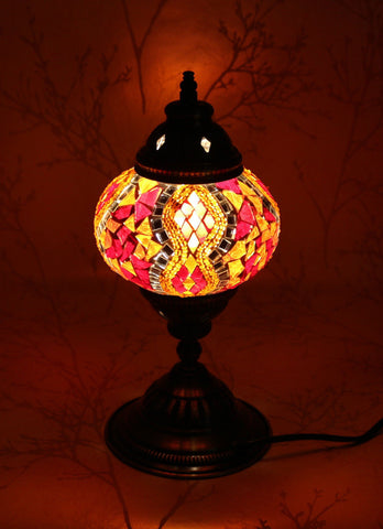 Turkish Mosaic Table Lamp - Ruby Fire-Snazzy Bazaar