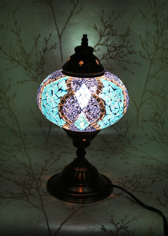 Turkish Mosaic Table Lamp - Sapphire Blue-Snazzy Bazaar