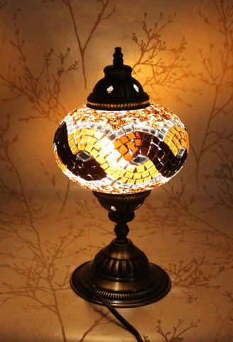 Turkish Mosaic Table Lamp - Topaz Burst-Snazzy Bazaar