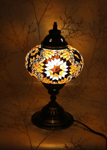 Turkish Mosaic Table Lamp - Topaz Flower-Snazzy Bazaar