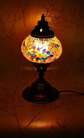 Turkish Mosaic Table Lamp - Topaz Star-Snazzy Bazaar