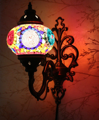 Turkish Mosaic Vanity Lamp - Color Collage-Snazzy Bazaar