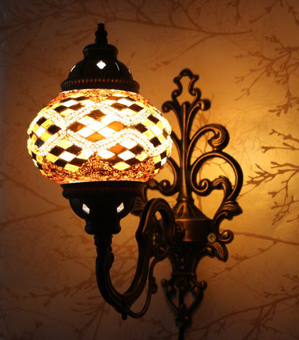 Turkish Mosaic Vanity Lamp - Pearl Diamond-Snazzy Bazaar