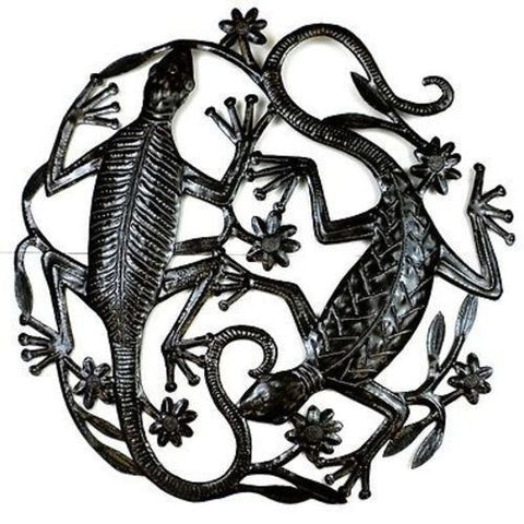Two Geckos - Haitian Metal Wall Art-Snazzy Bazaar