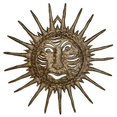 Whimsical Sun Face - Haitian Drum Metal Wall Art-Snazzy Bazaar