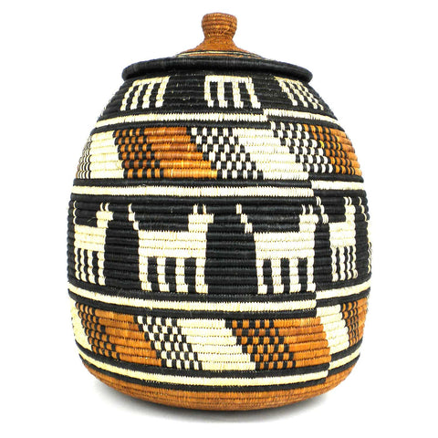"Zulu Wedding Basket - 17"" * 44"" Ukhamba Animal Design-Snazzy Bazaar"