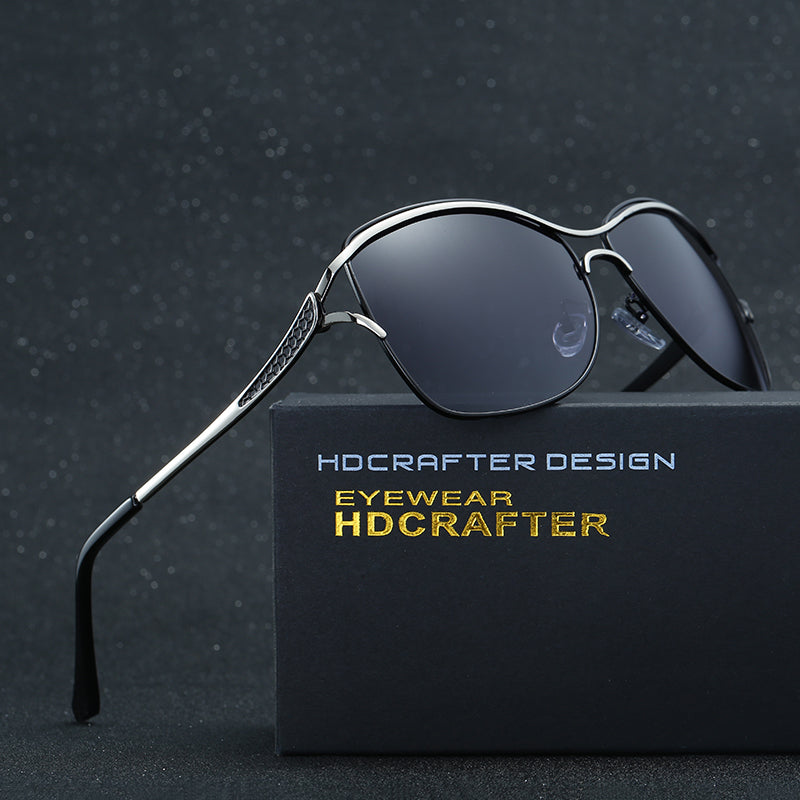842414b0996 2017 HDCRAFTER Cat Eye Women Sunglasses Brand Designer Metal Frame  Polarized Fashion glasses women s gafas de