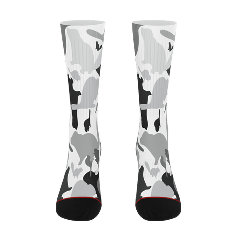 Black and White Beaverflauge Super Canadian Socks Novelty Socks - ErinFoggoaCreative