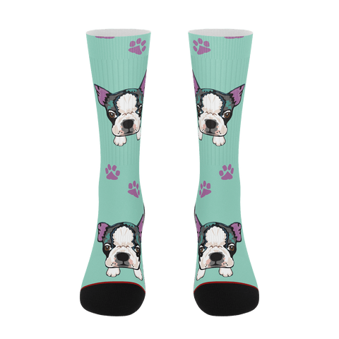 Boston Terrier Socks Funny Novelty Socks sublimated socks - ErinFoggoaCreative