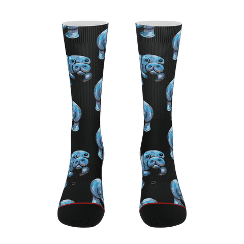 Black Manatee Socks novelty socks for women Funny men socks - ErinFoggoaCreative
