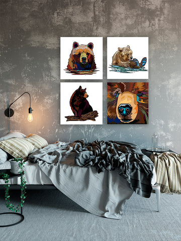 Ultimate Canvas Collection, all four bears Eco friendly - Vet office decor - Collections for a cause Neutral abstract wall art Animal wall art - ErinFoggoaCreative