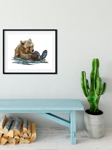 Jenny Paper Art print - Jenny - Brown Bear Office Decor, Home Decor, Woodland Art, Art for a Cause, Bear Art, Gift for Her, living Room Art - ErinFoggoaCreative