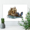 Jenny Canvas Art Print, Bear wall art, Modern Wall art, Neutral abstract wall art, Office decor for women, Jenny the Syrian Bear - ErinFoggoaCreative