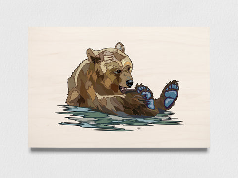 Jenny Bear art print on wood, Animal conservation, Office Decor for Women, Neutral abstract wall art, Bear wall art print - ErinFoggoaCreative