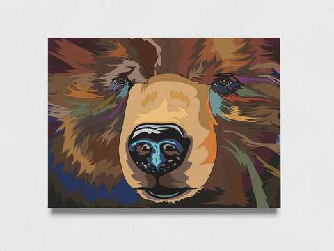 Jimbo Art print on wood, Brown Bear Wall Art - Animal Wall Art Office Decor for Women Collections for a Cause Grizzly Bear - ErinFoggoaCreative