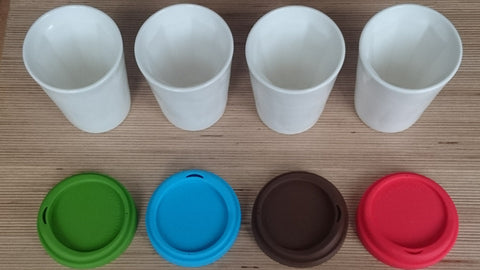 Therma Reusable Insulated Ceramic Cup Colour Set 4 x Cups, one of each colour