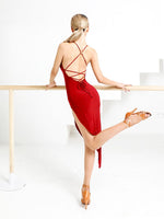 ZYM Dance Style Tango Red Dress #2117 with V-Neckline, Deep Open Back with Cross Over Straps, and Asymmetrical Skirt Pra703