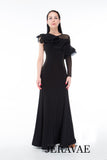Ruffled Asymetrical Shoulder Practice Ballroom Dress Long Sleeve on one side Pra090_in