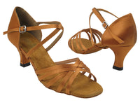 Very Fine 1613 Dark Tan Satin Latin Shoe with 2.5 Inch Heel and Double Cross Strap