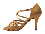 Very Fine 1613LEDSS Brown Satin Latin Shoe with Multiple Crossed Toe Straps and 3.5 Inch Stiletto Heel