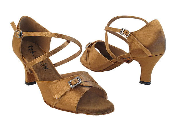 Very Fine 1637LEDSS Brown Satin Latin Shoe with 2.5 Inch Heel, Front Buckle Strap, and Double Cross Strap