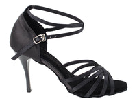 Very Fine 2613LEDSS Black Satin Latin Shoe with 3.5 Inch Stiletto Black Plated Heel and Woven Toe Straps