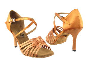 Veryfine Latin Competition Shoes with multiple Crossed Toe Straps in Dark Tan Satin with 3Inch Slim Heel 2784LEDSS