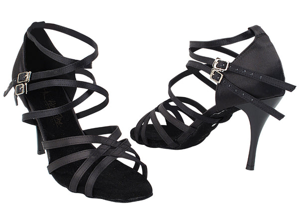 Very Fine 5008LEDSS Black Satin Latin Shoe with 3.5 Inch Black Plated Stiletto Heel and Two Double Cross Straps