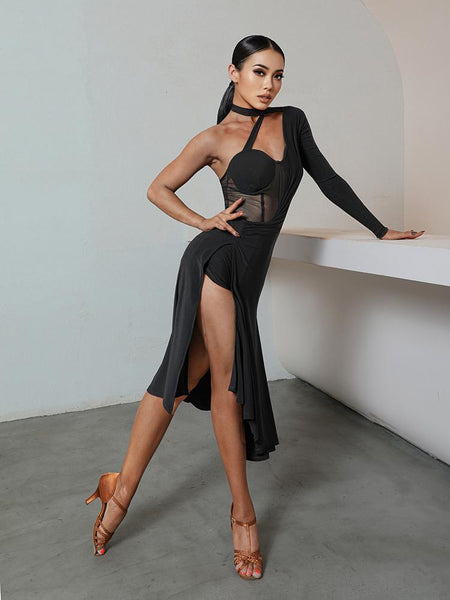 ZYM Dance Style Tiova Dress #2050 Black Latin Practice Dress with One Shoulder Detail and Mesh Inserts Pra674_in