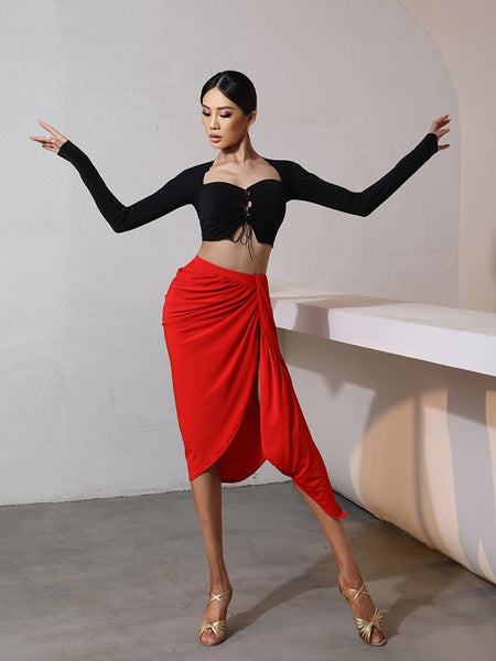 ZYM Dance Style DESIRAE Skirt #2061 Asymmetrical Red Latin Practice Skirt with Ruching Side Detail Pra675