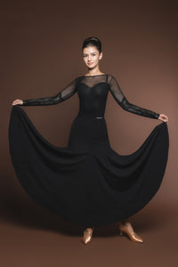 Long Sleek Black Ballroom Practice Skirt with Wrapped Horsehair Hem and Diagonal Gussets Matching Long Sleeve Ballroom Practice Top Pra527
