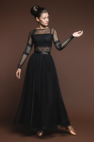 Soft Black Ballroom Practice Skirt with Wrapped Horsehair Hem and Satin Waistband Matching Lace Ballroom Practice Top Pra526_in