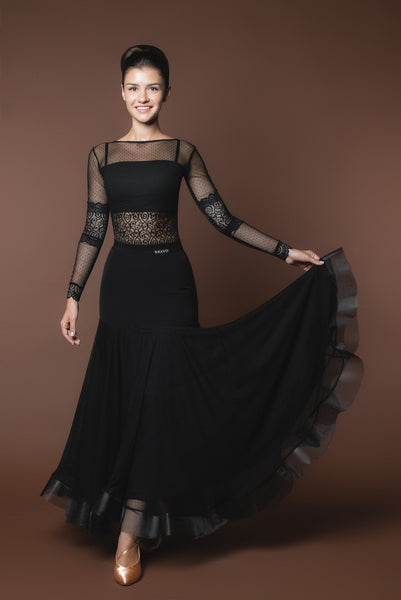 Long Black Ballroom Practice Skirt with Horsehair Hem and Elastic Waistband Matching Lace Ballroom Practice Top Pra525_in