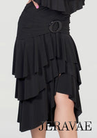 Long Latin Practice Skirt with Multiple Layers of Crepe Ruffles and a Gathered Waistline with Ring Detail Pra441