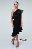 Black Practice Dress with Ruffle Skirt and Over-the-Shoulder Mesh and Velvet Ruffle Pra298