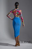 Unique Latin Practice Skirt with Gathered Detail and Slit. Available In Blue and Black Pra587