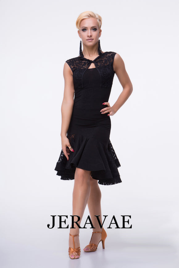 Black Lace Latin Practice Skirt with Uneve Hem and Matching BOlero Style Practice Top with Lace Short Sleeves and Twisted Neckline Detail Pra468