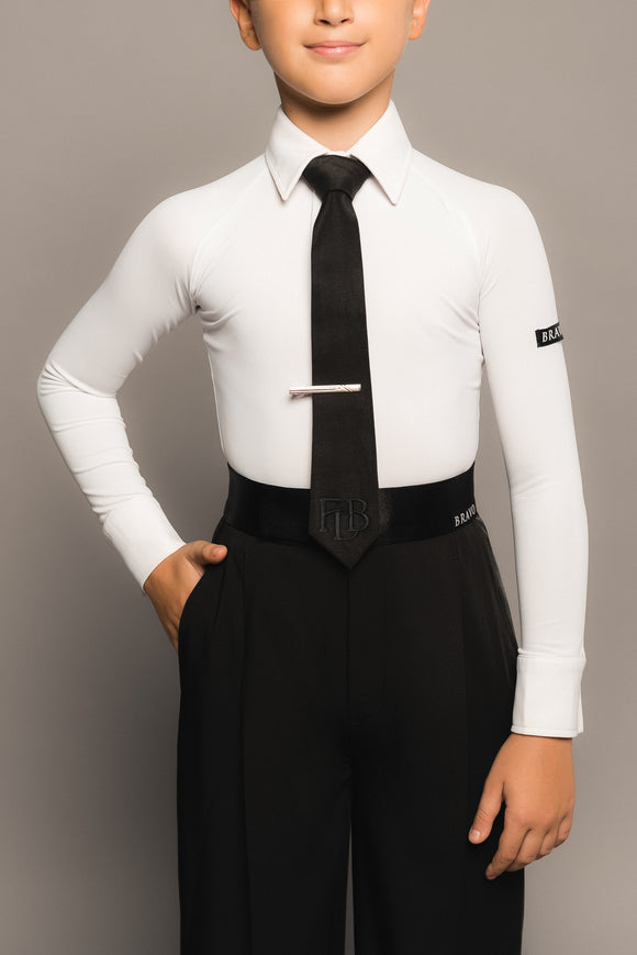 White Youth  or Teen Official Bravo Boys Ballroom Competition Shirt For Boys with Collar and Closure B003