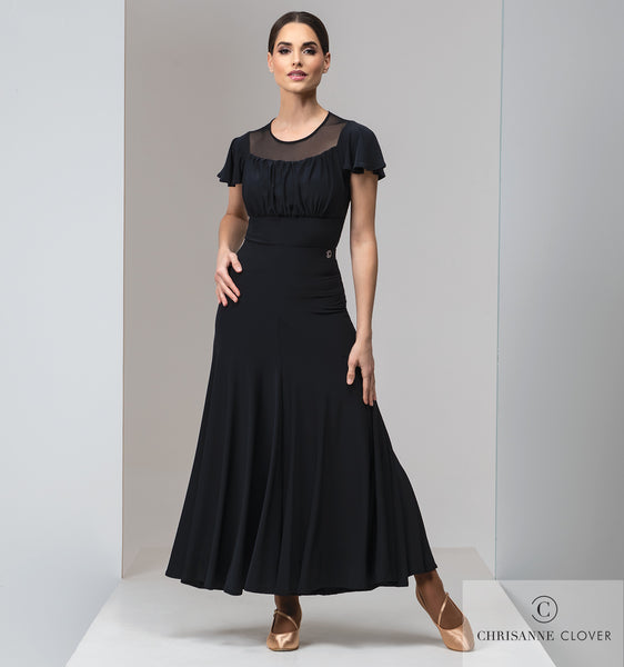 CIA Long Black or Plum Practice Dance Skirt From Chrisanne-Clover with Wrapped Waistline Elastic and Soft Hem