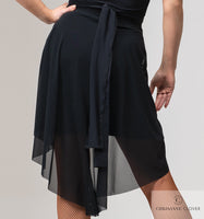 LANA Short Latin Practice Skirt From Crisanne-Clover with Sheer Layer and Tie Detail Pra610