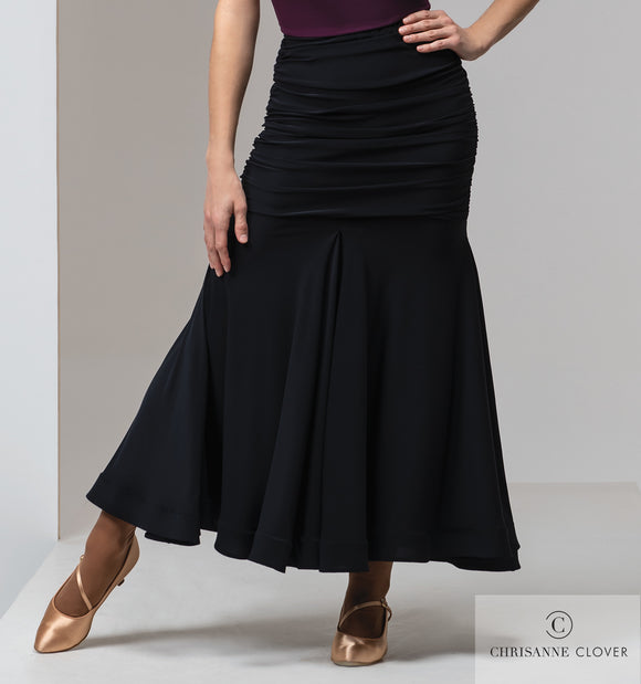 SICILY Long Black Ballroom Practice Skirt From Chrisanne-Clover With Wrapped Horsehair Hem and Ruching Through Waist and Hips Pra543