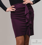 TRIXIE Black Latin Practice Skirt From Chrisanne-Clover with Rouching and Sash For Movement Pra544