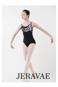 Camille Black and White Women's Spaghetti Strap Floral Ballet Leotard with Black White and Grey Flower Top.  In