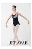 Camille Black and White Women's Spaghetti Strap Floral Ballet Leotard with Black White and Grey Flower Top