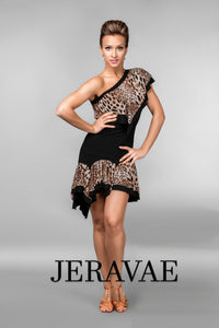 Black and Leopard Print Latin Practice Skirt and Matching Single Flutter Sleeve Practice Top with One Shoulder Pra463