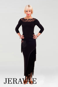 Long Latin Practice Skirt and Matching Top with Lace Inserts and Sharp Diagonal Fringe Long Sleeves on the Top Pra447
