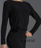 Short Black Latin/Club Dance Practice Dress with Long Sleeves Pra571